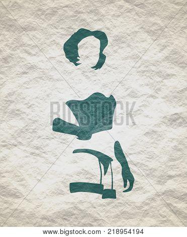 Sexy woman silhouettes, underwear fashion. Woman underwear. Crumpled paper texture