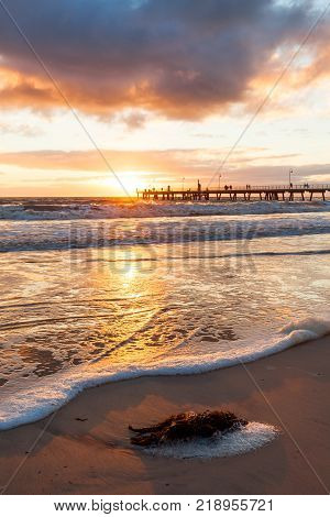 Sunset at the iconic glenelg beach in south australia