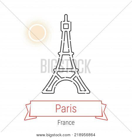 Paris, France Vector Line Icon with Red Ribbon Isolated on White. Parice Landmark - Emblem - Print - Label - Symbol. Eiffel Tower Pictogram. World Cities Collection.
