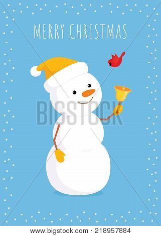 Christmas vector  illustration. A snowman looking at a flying redbird, a northern cardinal, and ringing a golden bell. Vertical format light, blue background. White frame.