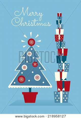 Vector illustration. Decorated potted Christmas tree and high stack of gifts. Red, blue and white colors. Vertical format. Greeting text.