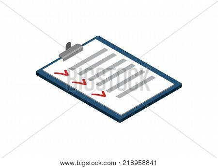 Survey or checklist isometric 3D icon. Interview or questionnaire list pictogram isolated vector illustration.