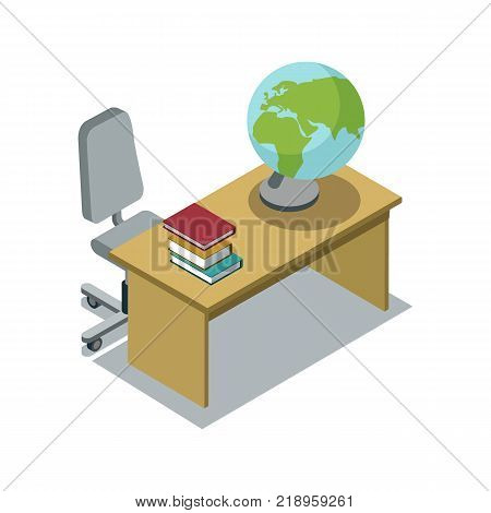 Classroom desk with textbooks and globe 3d isometric icon. Primary school education vector illustration.