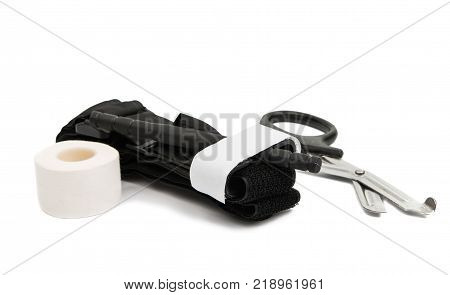 plait with adhesive plaster isolated on white background
