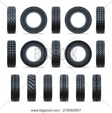 Realistic car tire icon collection. Front and side view black rubber tire isolated on white background vector illustration. Consumables for car, auto service concept, wheel vehicle symbol.