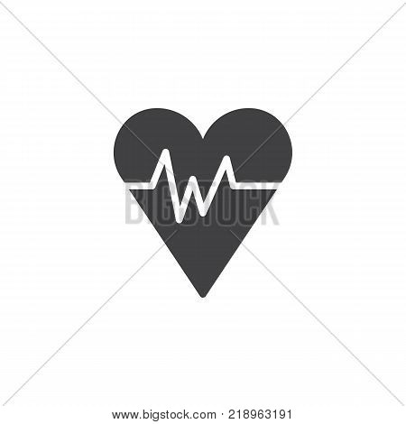 Heart with beat waves icon vector, filled flat sign, solid pictogram isolated on white. Heartbeat symbol, logo illustration