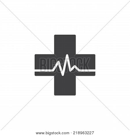 Medical pharmacy icon vector, filled flat sign, solid pictogram isolated on white. Medical cross whit heart beat symbol, logo illustration