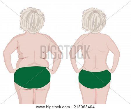 Fat and slim girls' back.  vector illusstration