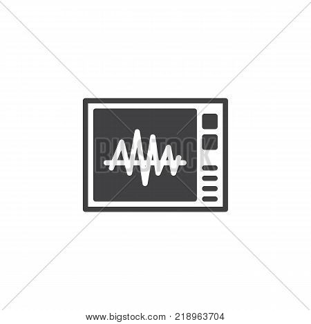 Heartbeat screen icon vector, filled flat sign, solid pictogram isolated on white. Electrocardiogram symbol, logo illustration