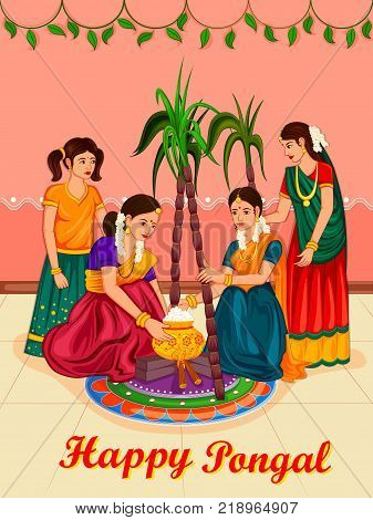Vector design of Happy Pongal religious traditional festival of Tamil Nadu India celebration background