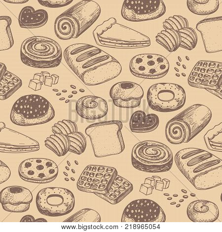 Homemade Bakery Product Vintage Seamless Pattern Sweet Pastry Market Backdrop Design Traditional Natural Bread