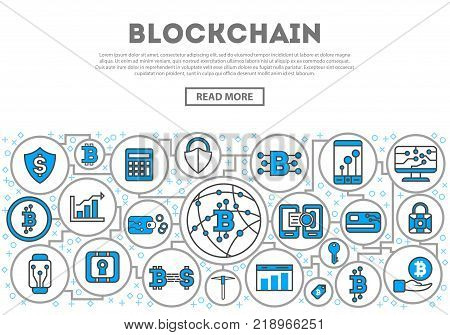 Blockchain network linear style infographics. Distributed ledger technology, business cloud computing, global payment system, financial data protection, data processing, network communication concept