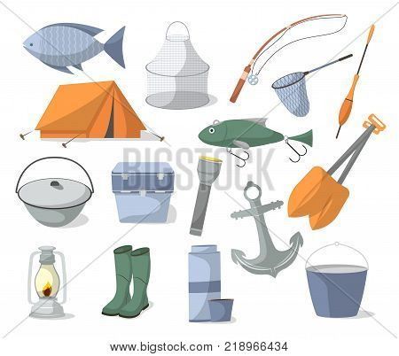 Fishing icons set in cartoon style. Tourist tent, anchor, fishhook, float, fishing rod, paddle, thermos, flashlight, rubber boots, camp boiler, cooler box symbols. Fisher equipment vector illustration