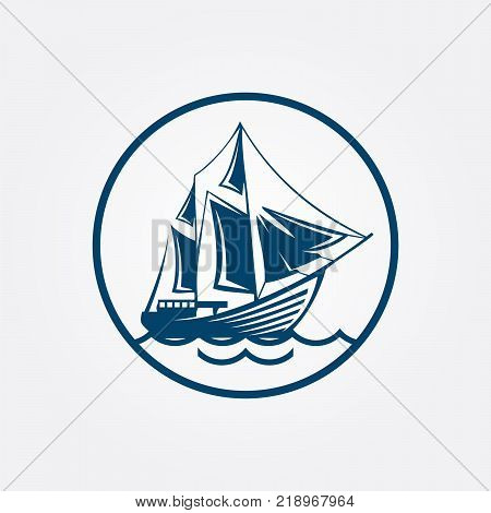 Sailing ship or frigate warship vector isolated icons set. Navy or maritime transport symbol of yacht with mast and sails, ironclad sailboat or pirate boat float drifting on sea waves,eps 8,eps 10 poster
