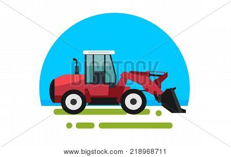 Big red loader in a flat style isolated. Heavy agricultural machinery for conducting construction works. Loader icon. Element for site, infographics, websites.  Vector illustration.