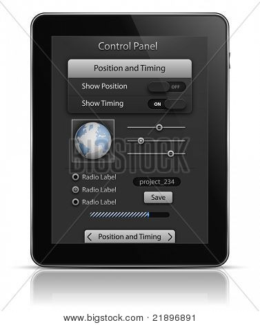 Tablet PC with UI elements. User interface template. EPS 10. Vector illustration