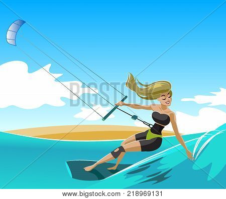 Young surf girl with kiteboard riding a wave. Kite. Cartoon vector illustration