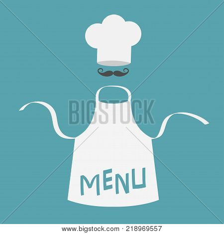 White blank kitchen cotton apron. Chef hat and big mustaches. Menu card template. Uniform for cook or baker. Cooking icon set. Flat design. Blue background. Isolated. Vector illustration.