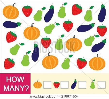 Count how many fruits berries and vegetables (pear strawberry eggplant pumpkin). Learning numbers mathematics. Counting game for preschool children.