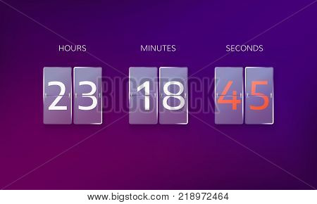 Countdown before the end of the offer. Count hours minutes and seconds. Web banner countdown isolated on purple background. Vector illustration