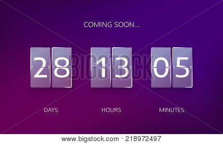 Announce countdown design. Count days hours and minutes to caming soon event. Vector illustration