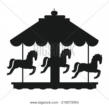Rotating horses merry-go-round carousel black silhouette vector illustration isolated on white background. Children amusement park element