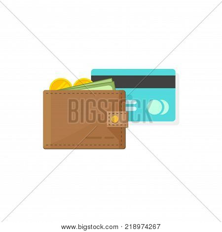Leather Wallet with coins money, paper cash and credit or debit card vector illustration flat cartoon style, idea of savings, earnings or salary, success or rich concept, financial wealth