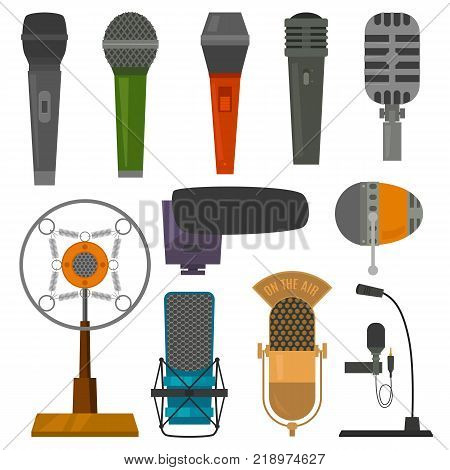 Microphone audio vector dictaphone and microphones for podcast broadcast or music record broadcasting set illustration isolated on white background.