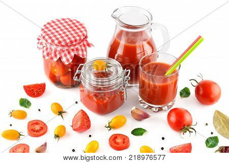 Tomato juice ketchup and tomato isolated on white background. Flat lay top view.