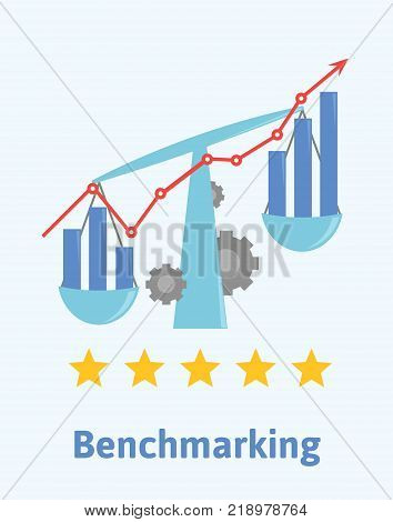 Benchmarking concept illustration. Comparing one's business processes and performance metrics to best practices from other companies. The scales with diagrams, stars and upward graph. Vector.