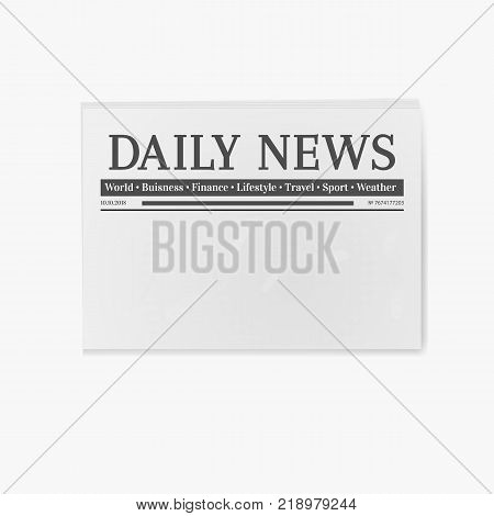 Blank newspaper. Daily news page template illustration