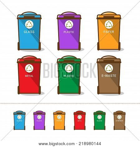 Waste segregation and garbage recycling sorts and categories. Colored recycle bin vector illustrations. Plastic organic glass electronic waste paper and metal waste types.