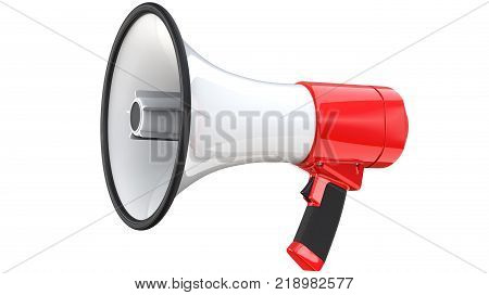 Red and white bullhorn public address megaphone. 3d rendering of mega phone, isolated on white background