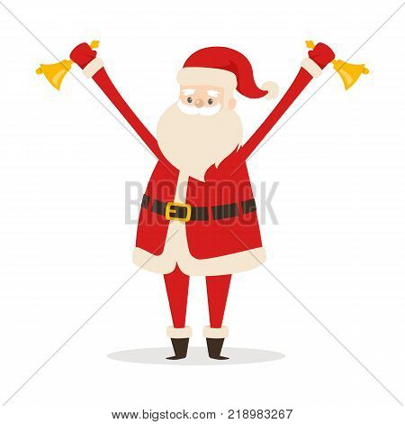 Santa Claus with two golden handbells in hands on white background. Vector illustration of old man with long beard holding jingle to alert his coming. Christmas supermarket or house decoration element