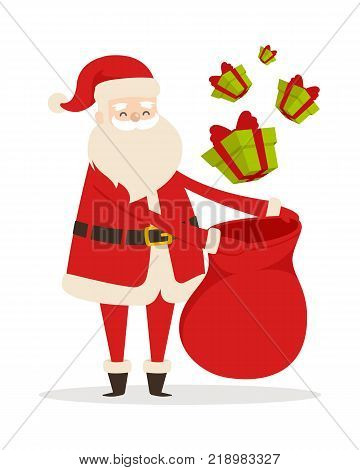 Preparing Christmas presents with Santa Claus. Vector illustration of many green gifts decorated by red ribbon packing in big sack. Old man in warm costume as element of decor for big supermarkets.
