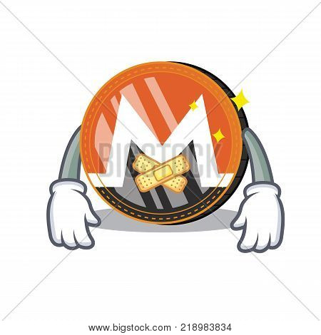 Silent Monero coin character cartoon vector illustration