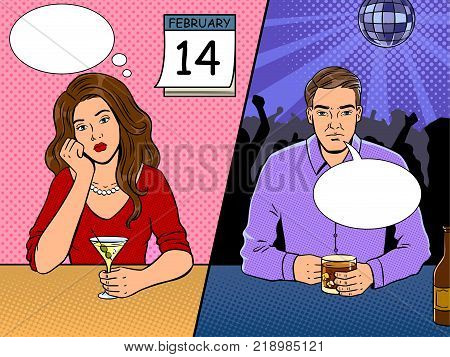 Lonely people on saint valentine day pop art retro vector illustration. Comic book style imitation.