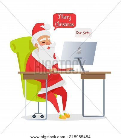 Merry Christmas banner of Santa mail isolated on white. Vector in cartoon style of happy Santa Claus sitting at table and reading online Christmas letters. Getting mails from children with wishes