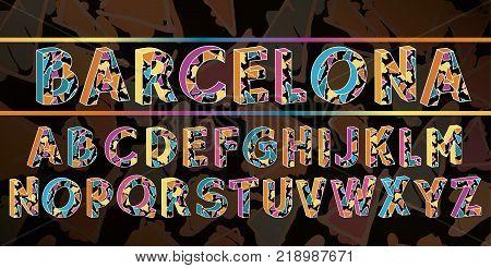 The alphabet in style of the Spanish artist of Antoni Gaudi, vector Eps10 image. Barcelona black font.