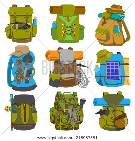 Backpack camp vector backpacking travel bag with tourist equipment in hiking camping and climbing sport knapsack or rucksack set illustration isolated on white background.