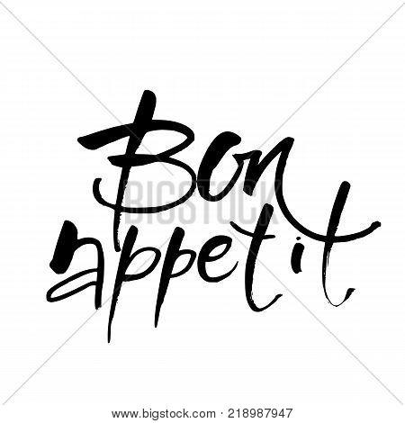 Handmade vector calligraphy. Bon appetit. Vector Illustration.