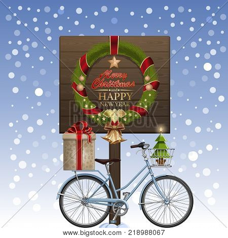 Christmas greeting card. Christmas wreath winter bike gift box golden jingle bells decorated Christmas tree ilex snow. Greetings - Merry Christmas and Happy New Year. Vector illustration