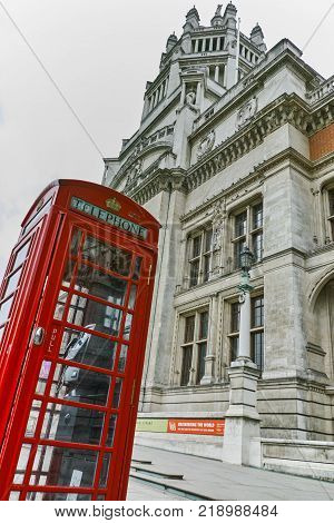 LONDON, ENGLAND - JUNE 18 2016: Entrance of Victoria and Albert Museum, London, Great Britain