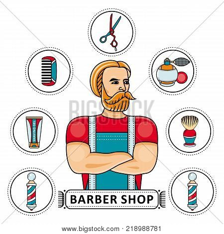 Hand-drawn barbershop set - barber, scissors, shaving gel and brush, hair comb, lotion and barbershop pole, vector illustration isolated on white background. Barbershop set with barber and tools