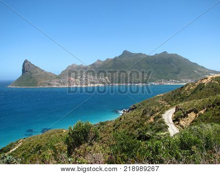 VIEW OF SENTINEL PEAK IN HOUT BAY, FROM THE CHAPMAN'S PEAK DRIVE, CAPE TOWN, SOUTH AFRICA