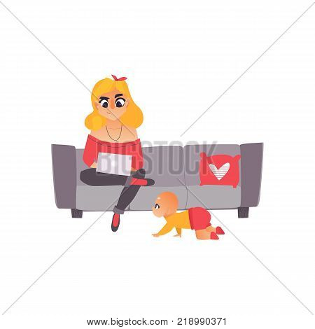 Young mother, woman, girl on parental leave sitting on sofa with laptop, working from home, freelancer, flat cartoon vector illustration isolated on white background. Mother, woman working from home