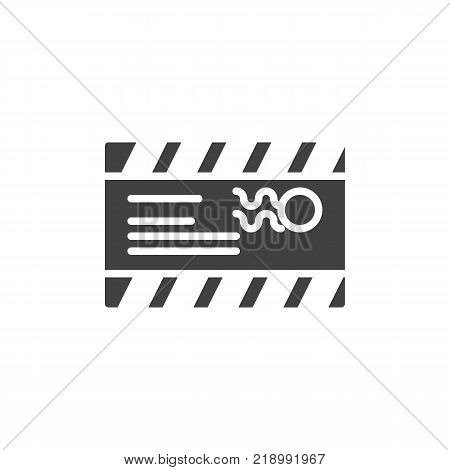 Mail envelope with a stamp and address icon vector, filled flat sign, solid pictogram isolated on white. Postcard symbol, logo illustration.