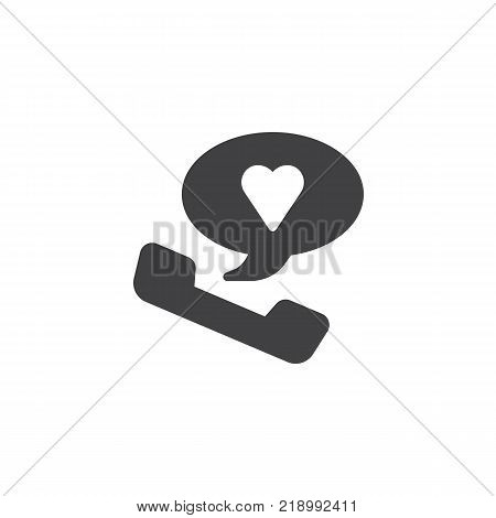 Romantic phone call with heart inside speech bubble icon vector, filled flat sign, solid pictogram isolated on white. Favorite number symbol, logo illustration.