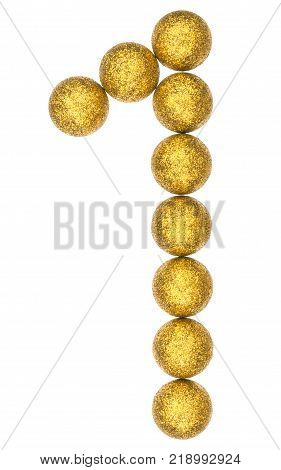 Numeral 1, One, From Decorative Balls, Isolated On White Background