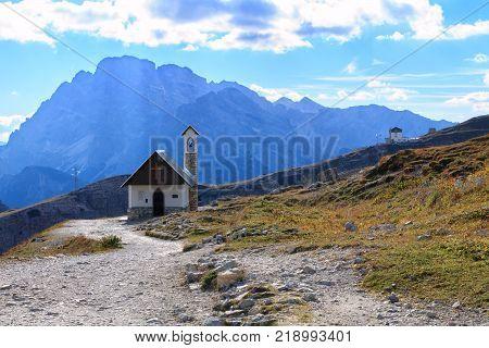 Church in the Dolomite Mountains Tre Cime di Lavaredo in ItalyEurope